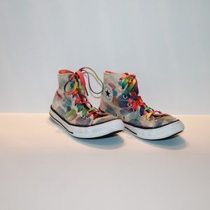 Converse Junior Size 2 Water Colored Sneakers